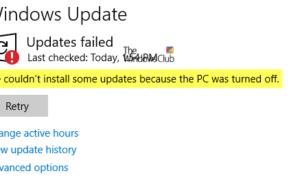 No pudimos instalar algunas actualizaciones porque el PC estaba apagado