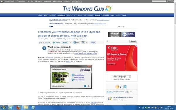 Mostrar una página web interactiva como fondo de pantalla en el escritorio de Windows con WallpaperWebPage 2