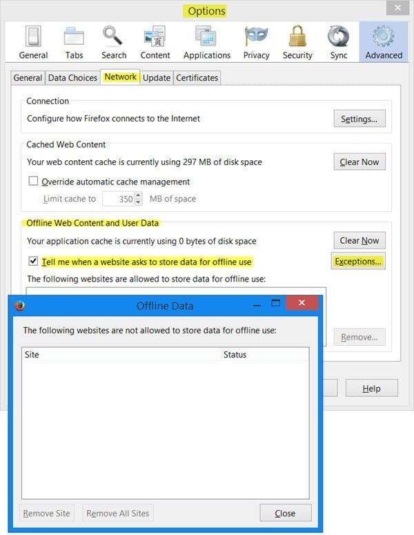 Este sitio web solicita permiso para almacenar datos en su ordenador para su uso fuera de línea.