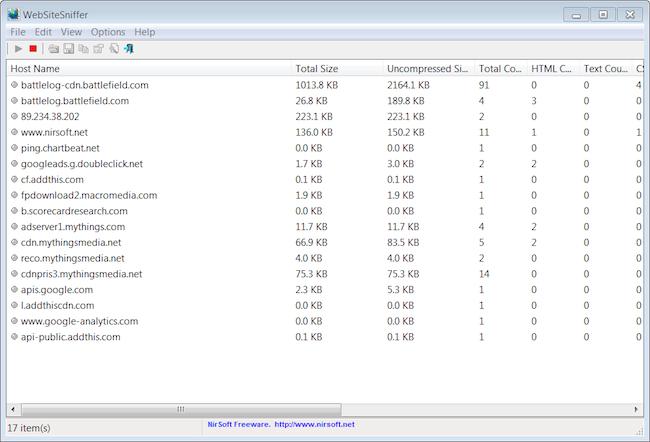 Recopilación de estadísticas de red con WebSiteSniffer