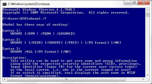 Utilidad WHOAMI en Windows 7/8/10 y su uso, sintaxis, comandos