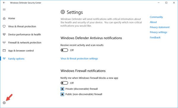 Centro de seguridad de Windows Defender en Windows 10 11