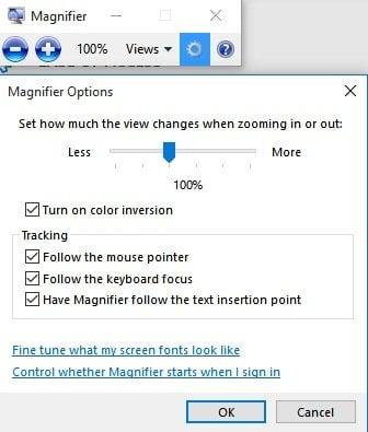 Configuración de Facilidad de acceso en Windows 10