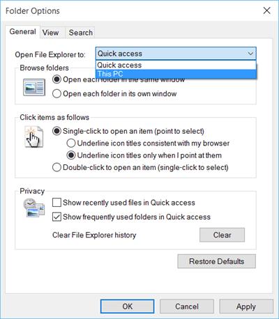 Características, configuración y cambios del Explorador de archivos de Windows 10