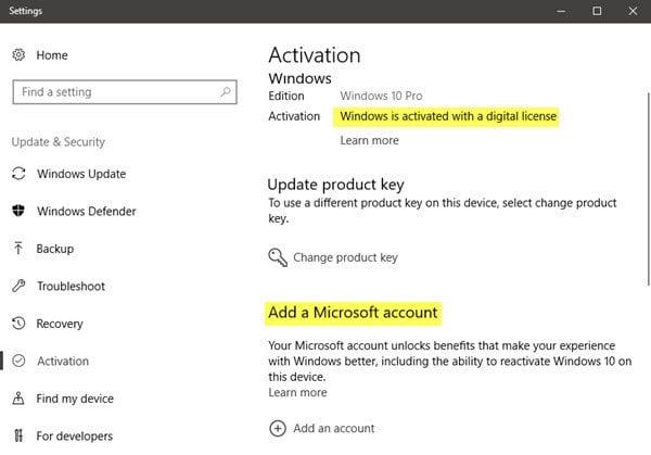 Windows 10 está activado pero sigue pidiendo la activación 2
