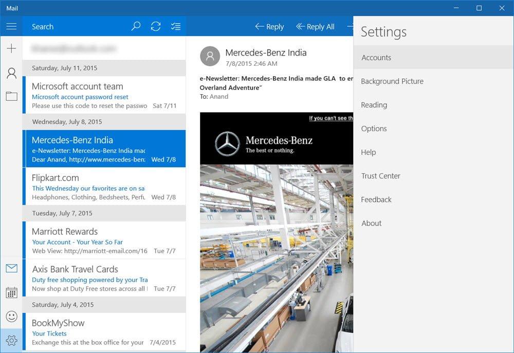Revisión de la aplicación de Windows 10 Mail 1