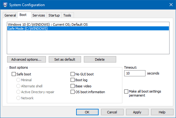Cómo agregar el Modo a prueba de fallos a las opciones del menú de arranque en Windows 10