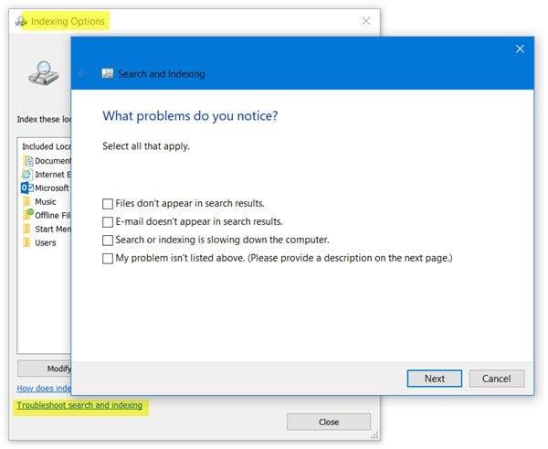 La indexación de búsquedas se desactivó en Windows 10
