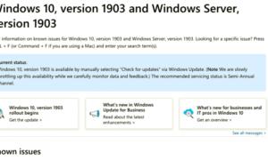 Problemas conocidos con Windows 10 v1903 Actualización de mayo de 2019