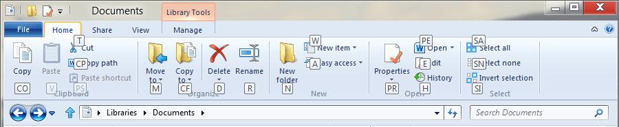 Atajos de teclado del Explorador de Windows 8