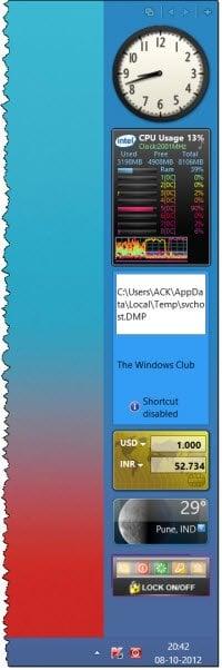 Agregar gadgets de Sidebar y de escritorio en Windows 10 con 8GadgetPack