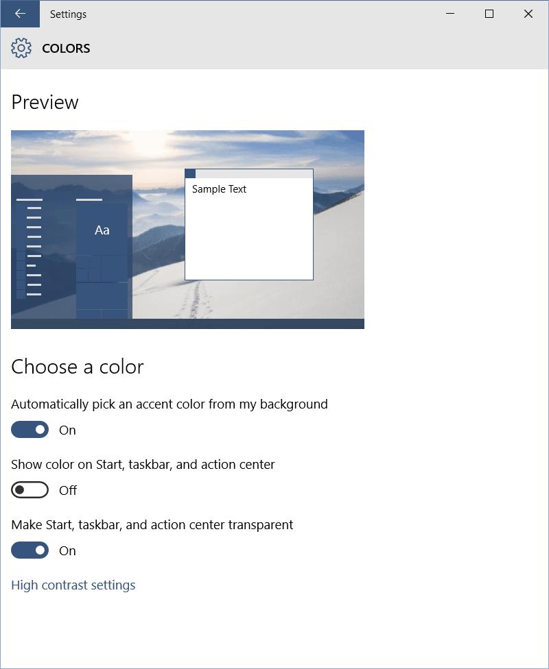 Configuración de personalización en Windows 10 3