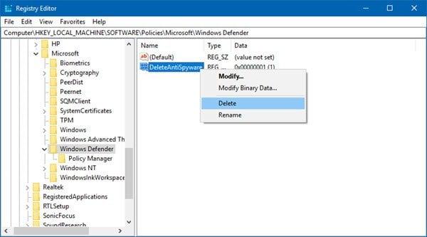 La directiva de grupo desactiva Windows Defender