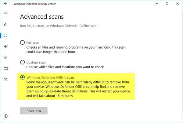 Realizar el análisis del tiempo de inicio de Windows Defender con la característica de análisis sin conexión en Windows 10