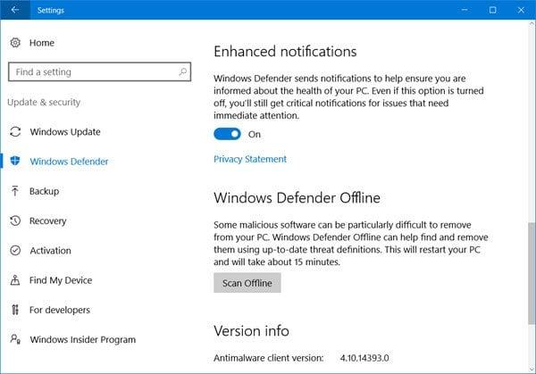 Habilitar o activar notificaciones mejoradas en Windows Defender