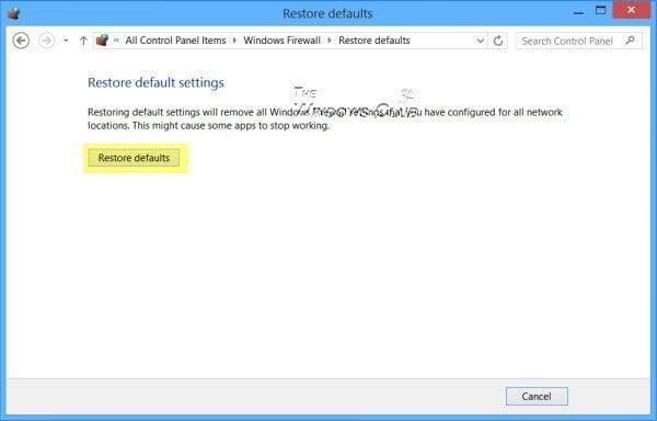 Restaurar o restablecer los valores predeterminados de la configuración del Firewall de Windows 2