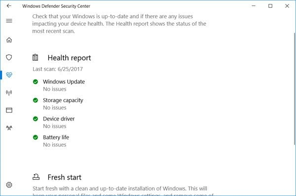 El Informe de salud de Windows 10 no está disponible