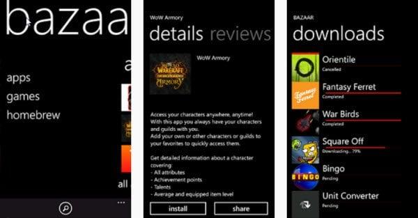 Windows Phone obtiene Bazaar, una alternativa de MarketPlace - su propio Cydia