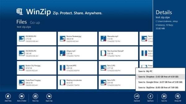 Descargar la aplicación WinZip para Windows 8 Gratis (No Gratis) 2