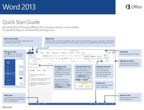 Guías de inicio rápido de Office 2013 y video de aprendizaje de Office 365 de Microsoft
