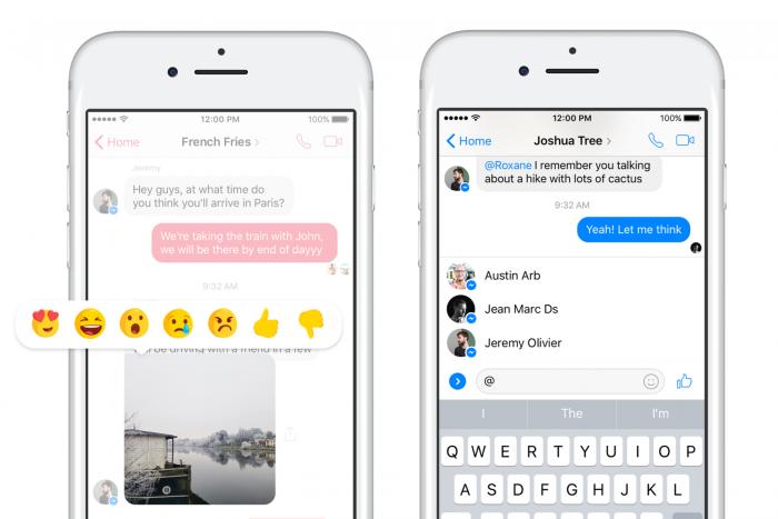 Facebook Messenger recibe reacciones, botón No me gusta y @ menciona 3