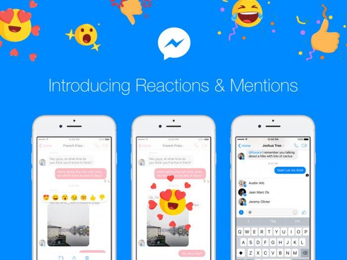 Facebook Messenger recibe reacciones, botón No me gusta y @ menciona 1