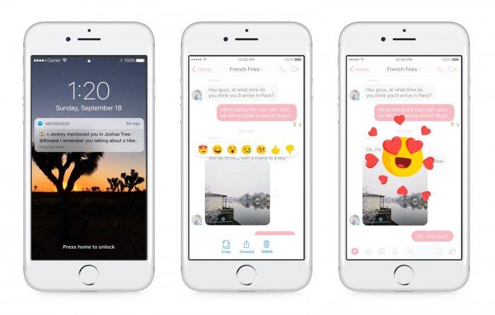 Facebook Messenger recibe reacciones, botón No me gusta y @ menciona 2