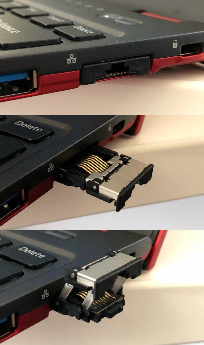 Este puerto Ethernet se dobla para adaptarse a portátiles más delgados 2