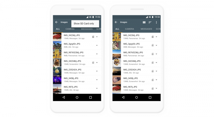 Files Go, Google File Manager, mejora la compatibilidad con tarjetas de memoria 1