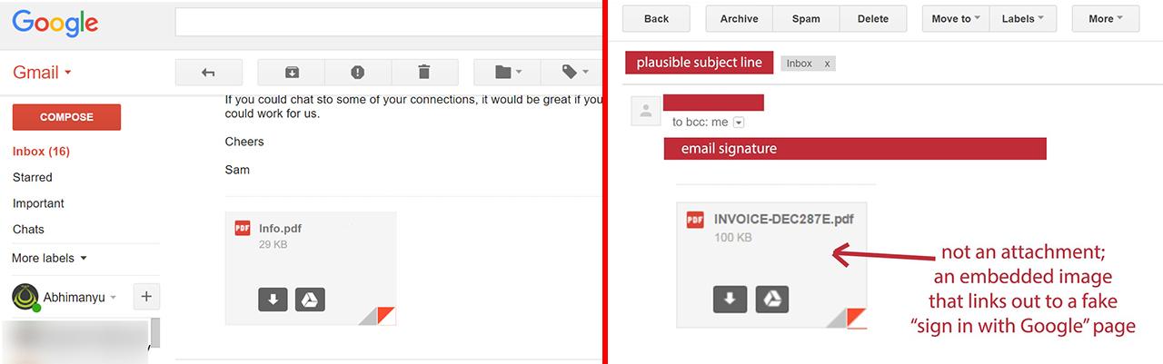 Dile a tus amigos que tengan cuidado con la estafa de archivos adjuntos falsos en Gmail 3